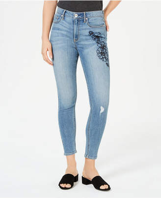 American Rag Juniors' Embroidered Ripped Skinny Ankle Jeans