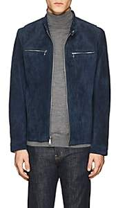 Michael Kors MEN'S PERFORATED SUEDE JACKET-BLUE SIZE XL