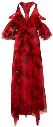 Alexander McQueen Ruffled Poppy Print Silk Chiffon Gown - Womens - Red Print