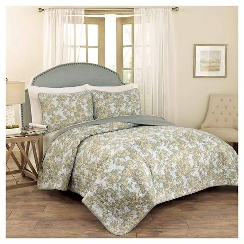 Traditons by Waverly Blue Floral Tulip Toile Quilt Set 3pc - Traditions by Waverly®