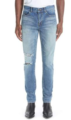 Saint Laurent Destroyed Light Skinny Fit Jeans