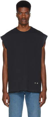 Helmut Lang Black Distressed Sleeveless T-Shirt