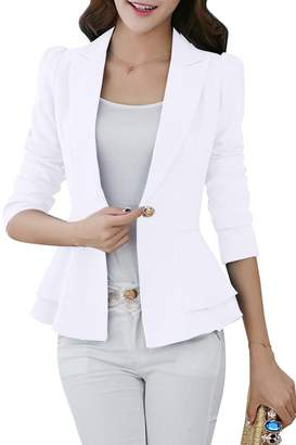 YMING Women 3/4 Sleeve Blazer Open Front Cardigan Jacket Work Blazer ,S