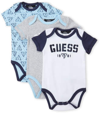 GUESS Newborn Boys) 3-Pack Logo Bodysuit Set