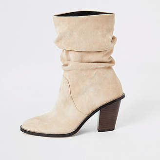 River Island Beige faux suede slouch heeled boot