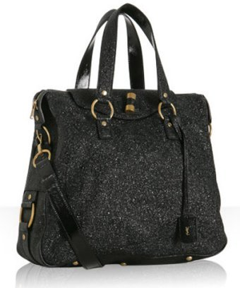 Yves Saint Laurent black crackled patent leather 'Rive Gauche' bag
