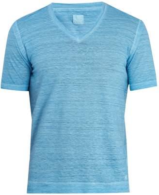 120% Lino 120 LINO V-neck linen-jersey T-shirt