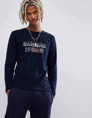 Napapijri Solin logo long sleeve crew neck t-shirt in navy