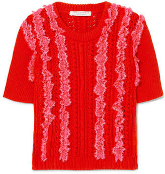 Philosophy di Lorenzo Serafini Lace-trimmed Cable-knit Cotton Sweater - Red