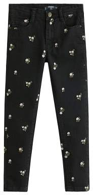 MANGO Floral embroidered skinny jeans