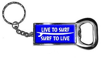 Generic Live To Surf Surf To Live Keychain Key Chain Ring Bottle Bottlecap Opener