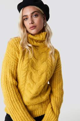 Trendyol Braided Knit Sweater Yellow