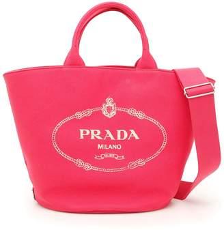 Prada Logo Hemp Shopping Bag