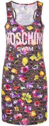 Moschino logo floral fitted dress