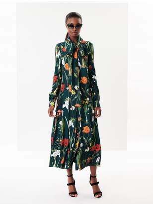 Oscar de la Renta Flower Harvest Silk-Twill Shirtdress