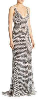 Naeem Khan Striped V-Neck Gown