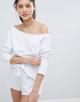Asos DESIGN LOUNGE Raw Edge Off Shoulder Sweat