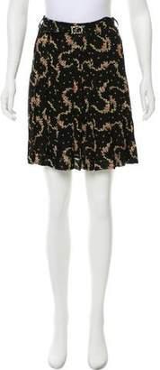 Blumarine Floral Print Belted Skirt