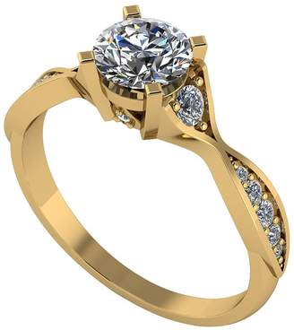 Moissanite 9ct Gold 1ct Eq Twisted Shank Solitaire Ring