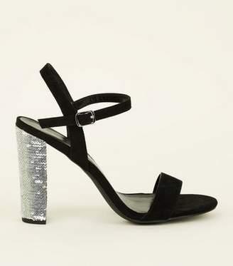 New Look Wide Fit Black Suedette Sequin Block Heel Sandals