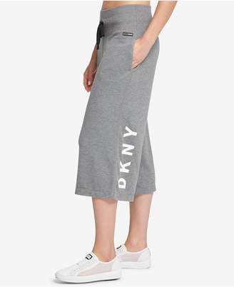 DKNY Sport Wide-Leg Cropped Logo Pants, Created for Macy's