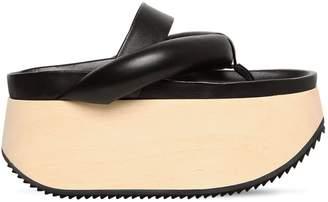 Jil Sander 70mm Leather Flip Flops Wedges