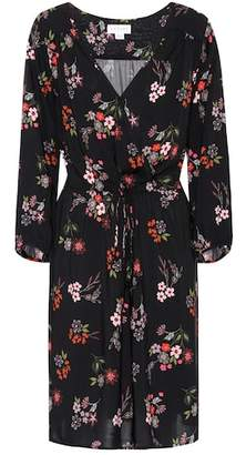 Velvet Floral wrap-effect dress