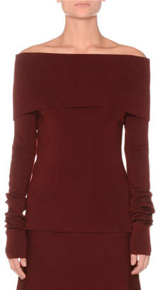 Agnona Off-the-Shoulder Extra Fine Merino Knit Sweater