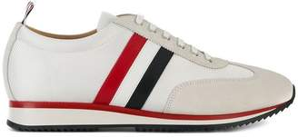 Thom Browne Running Shoe With Red, White And Blue Stripe In Suede & Cotton Blend Tech