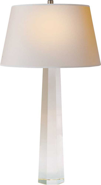 E.F. Chapman LARGE OCTAGONAL SPIRE TABLE LAMP IN CRYSTAL