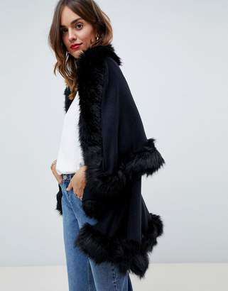 Jayley Luxurious Faux Fur Double Layer Wool Blend Poncho
