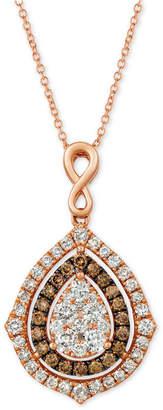 """LeVian Le Vian Nude Diamonds® & Chocolate Diamonds® Fancy 18"""" Pendant Necklace (1-5/8 ct. t.w.) in 14k Rose Gold"""