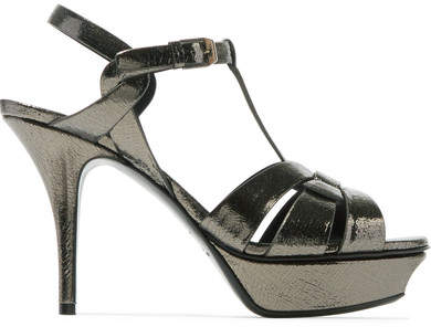 Saint Laurent - Tribute Metallic Cracked-leather Platform Sandals - Gunmetal