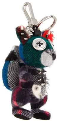 Burberry Check Squirrel Bag Charm Green Check Squirrel Bag Charm