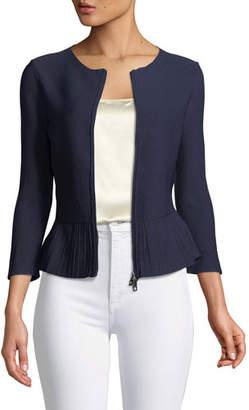 Emporio Armani Zip-Front Pleated-Hem Peplum Jacket