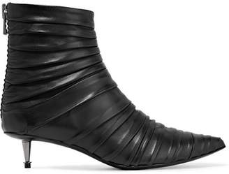 Ruched Leather Ankle Boots - Black