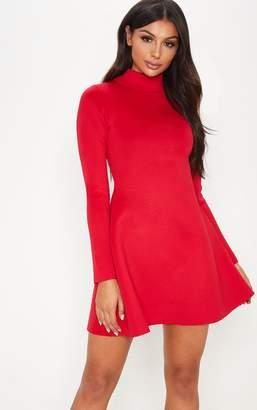 PrettyLittleThing Red Bonded Scuba Funnel Neck Skater Dress
