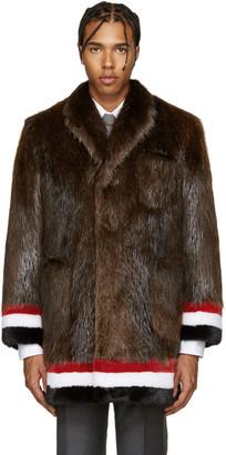 Thom Browne Brown & Tricolor Fur Coat $16,400 thestylecure.com