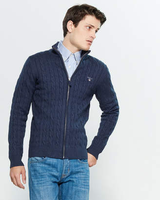 Gant Cable Knit Zip-Up Long Sleeve Sweater
