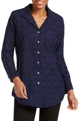 Foxcroft Ivy Mosaic Embroidery Cotton Tunic Top