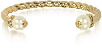 Tory Burch Tory Gold Brass Rope Bangle w/Ivory Logo Bead