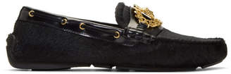 Versace Black Calf Hair Medusa Tribute Driver Loafers
