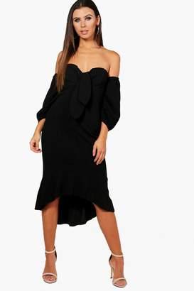 boohoo Petite Off Shoulder Puff Sleeve Midi Dress