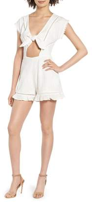 Dee Elly Tie Front Embroidered Romper