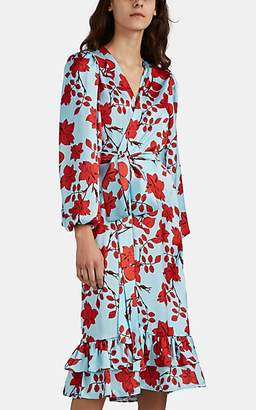 LoboRosa Women's Floral-Print Satin Wrap Dress