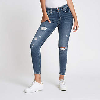 River Island Mid blue Amelie distressed super skinny jeans