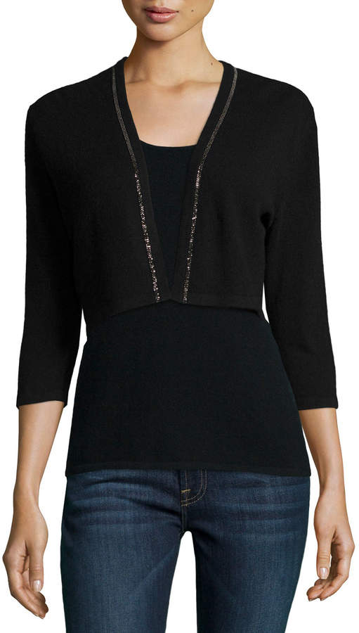 Neiman Marcus Cashmere Collection Cashmere Shrug with Chain Trim