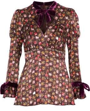 Anna Sui Velvet-Trimmed Floral-Print Silk Blouse