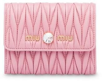 Miu Miu matelassé leather crystal detail wallet