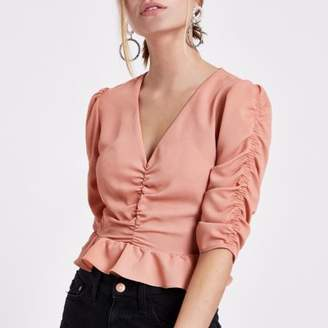 River Island Womens Petite pink ruched front puff sleeve crop top